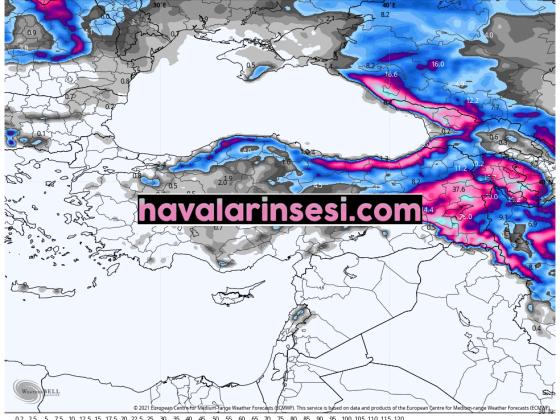 Toplam Yağış ve  Kar haritaları